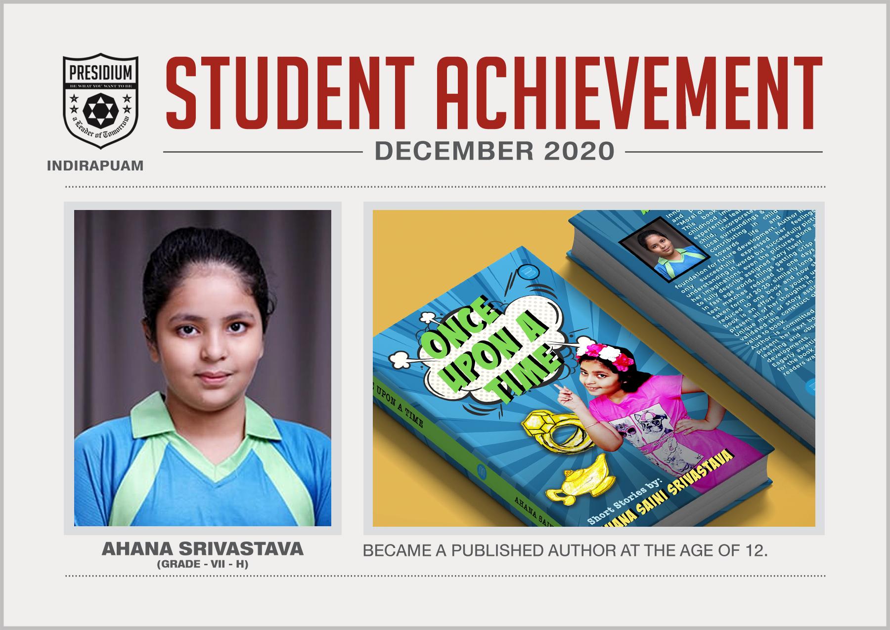 Achievement - Ahana Srivastava's 1st book