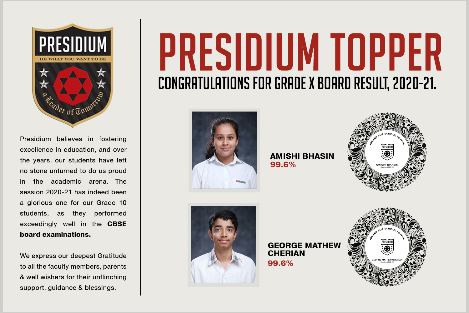 CBSE GRADE X RESULTS(2020-21): PRESIDIANS ACE WITH PERFECT SCORES