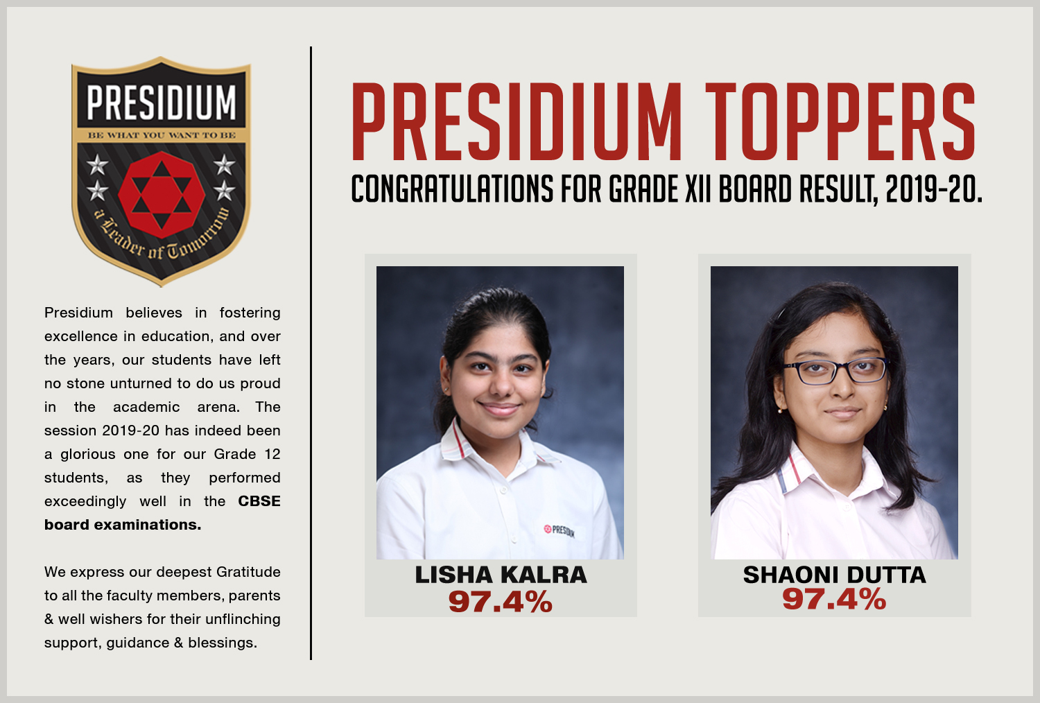 IMPECCABLE PERFORMANCE BY PRESIDIANS IN CBSE 12TH BOARDS(2019-20)