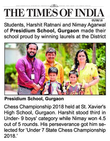 TOI FEATURES PRESIDIANS' ACHIEVEMENT IN CHESS CHAMPIONSHIP 2018