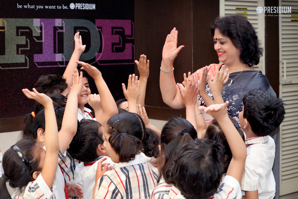 STUDENTS RECEIVE A GRAND WELCOME BY MRS. GUPTA AT PRESIDIUM GGN
