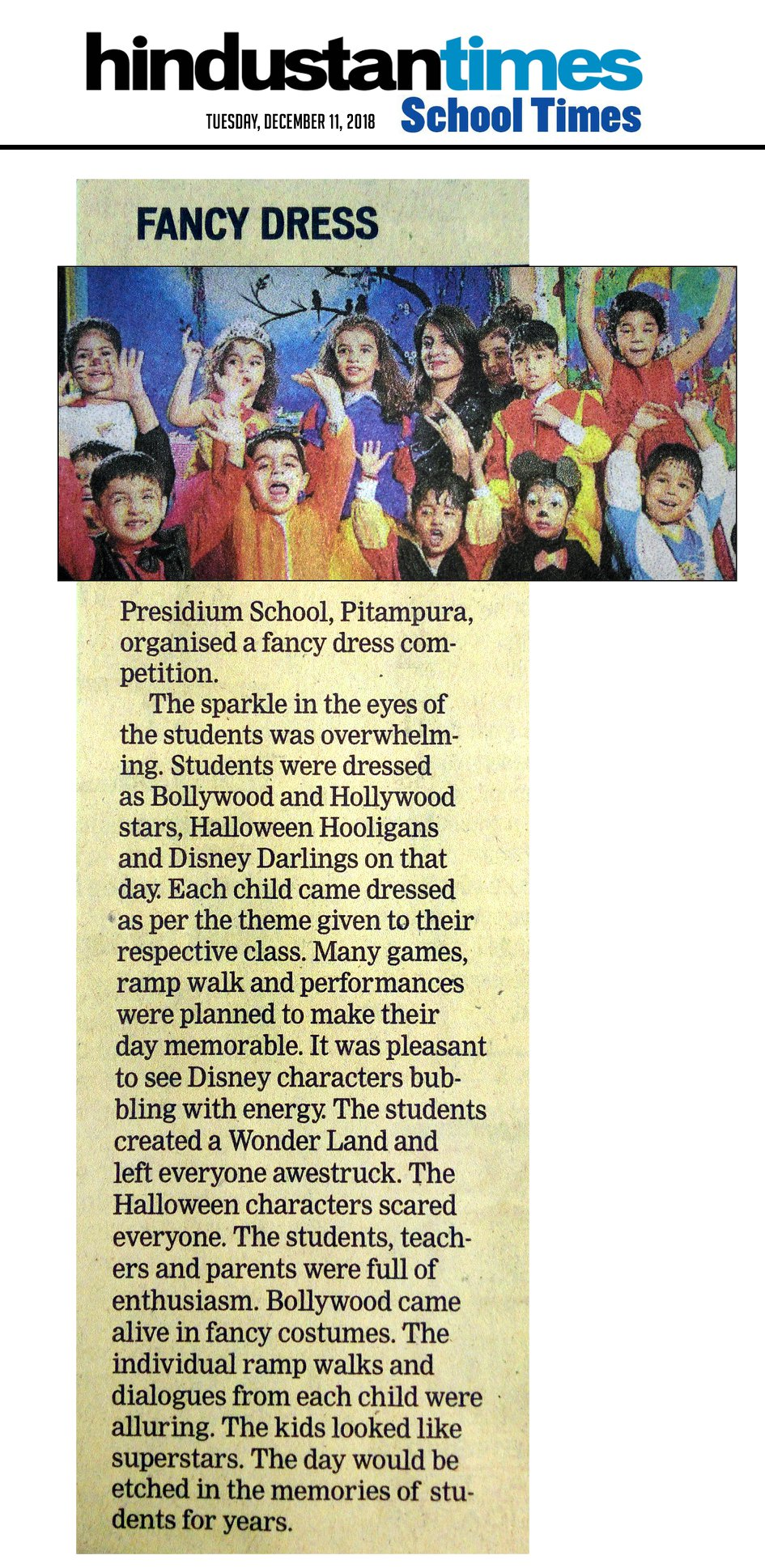 OUR FANCY DRESS DAZZLERS MAKE IT TO HINDUSTAN TIMES