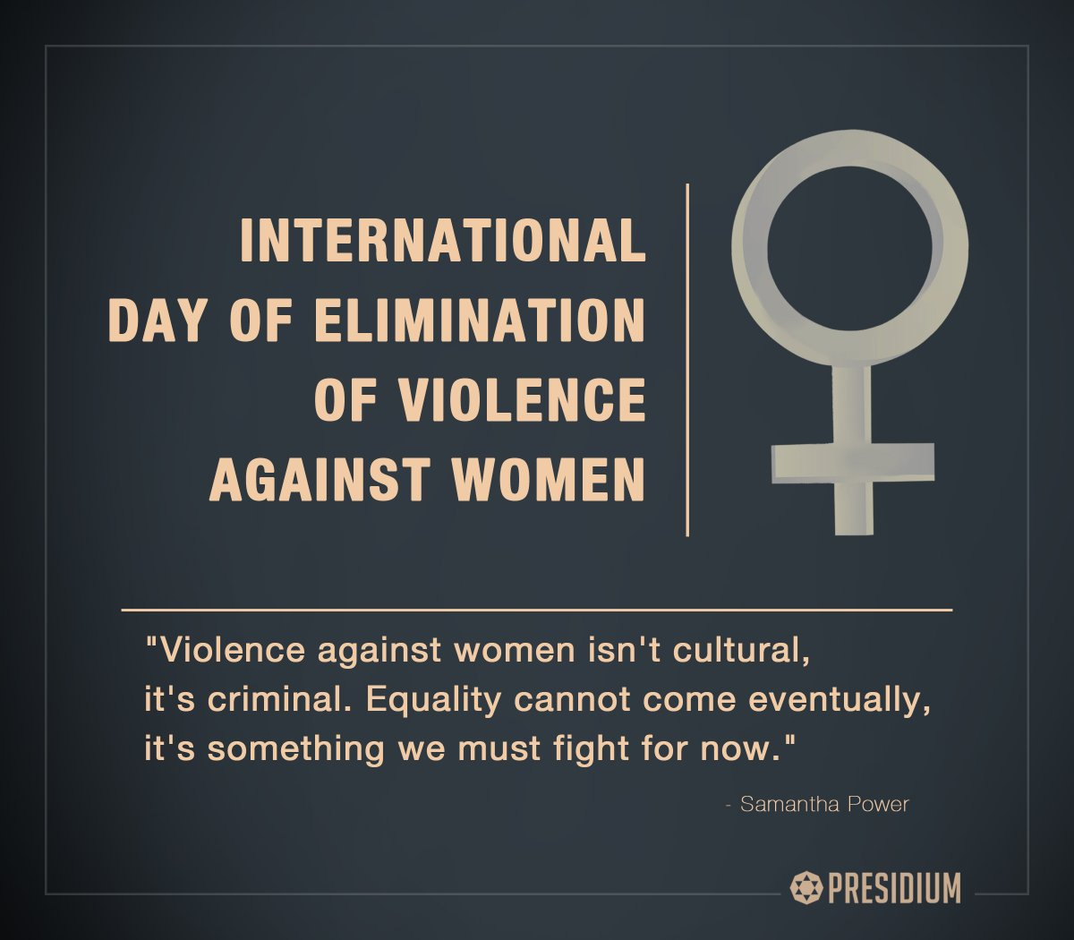 THE PRESIDIUM FAMILY PROUDLY SAYS NO TO VIOLENCE AGAINST WOMEN
