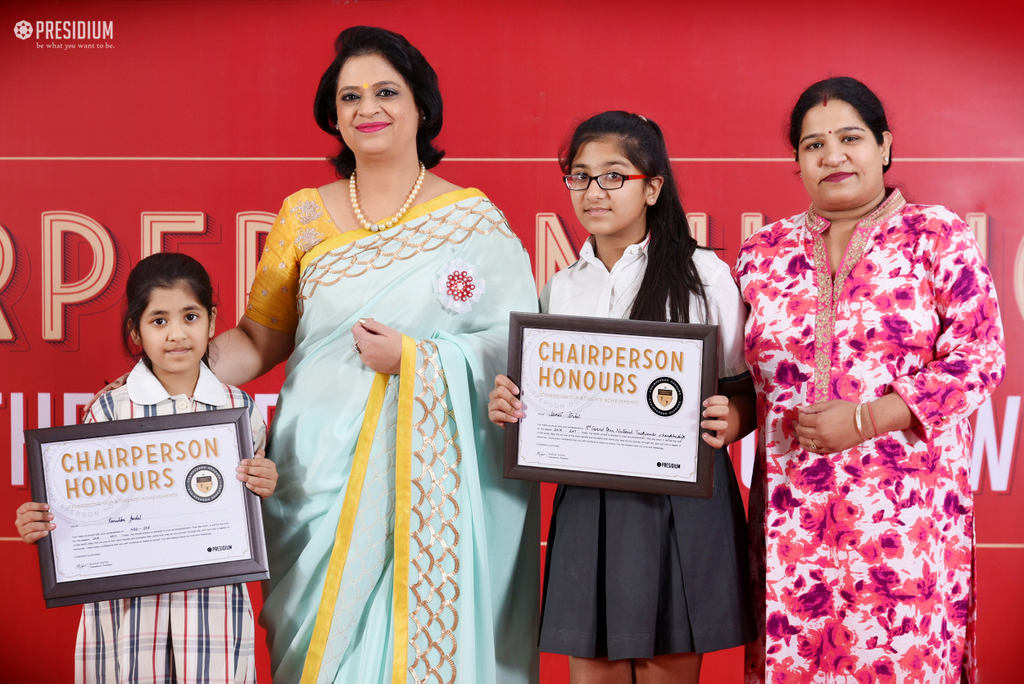 SUDHA MA'AM CONGRATULATES YOUNG ACHIEVERS OF PRESIDIUM FARIDABAD