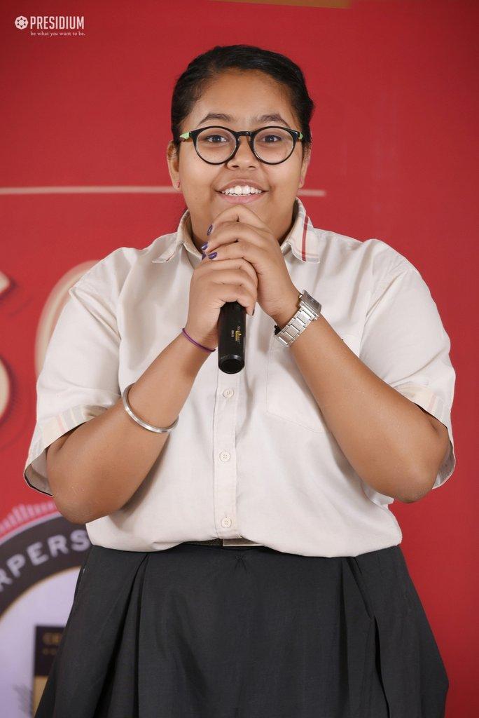 SUDHA MA'AM HONOURS YOUNG ACHIEVERS OF PRESIDIUM GURGAON AT CPH
