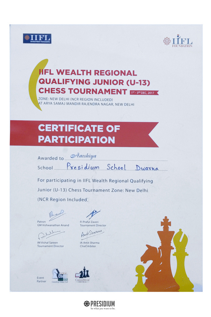 3rd Position in Chess Tournament