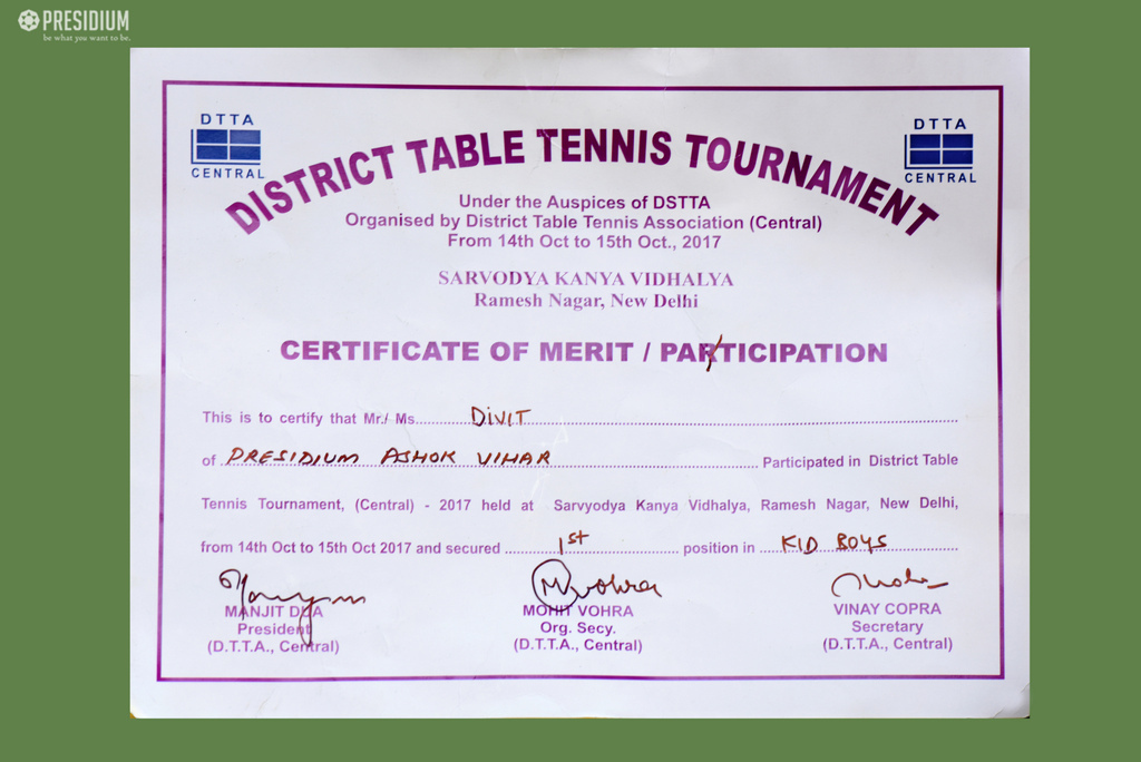 OUR BUDDING TT STAR WINS BRONZE AT DISTRICT TABLE TENNIS CONTEST