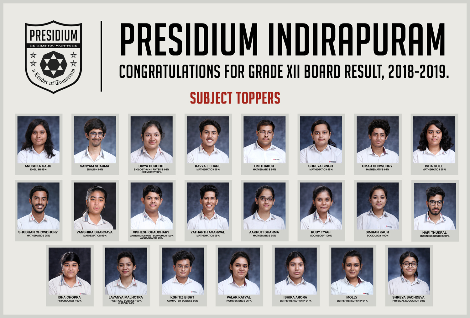 CLASS 12 STUDENTS DELIVER OUTSTANDING RESULTS IN BOARDS 2019