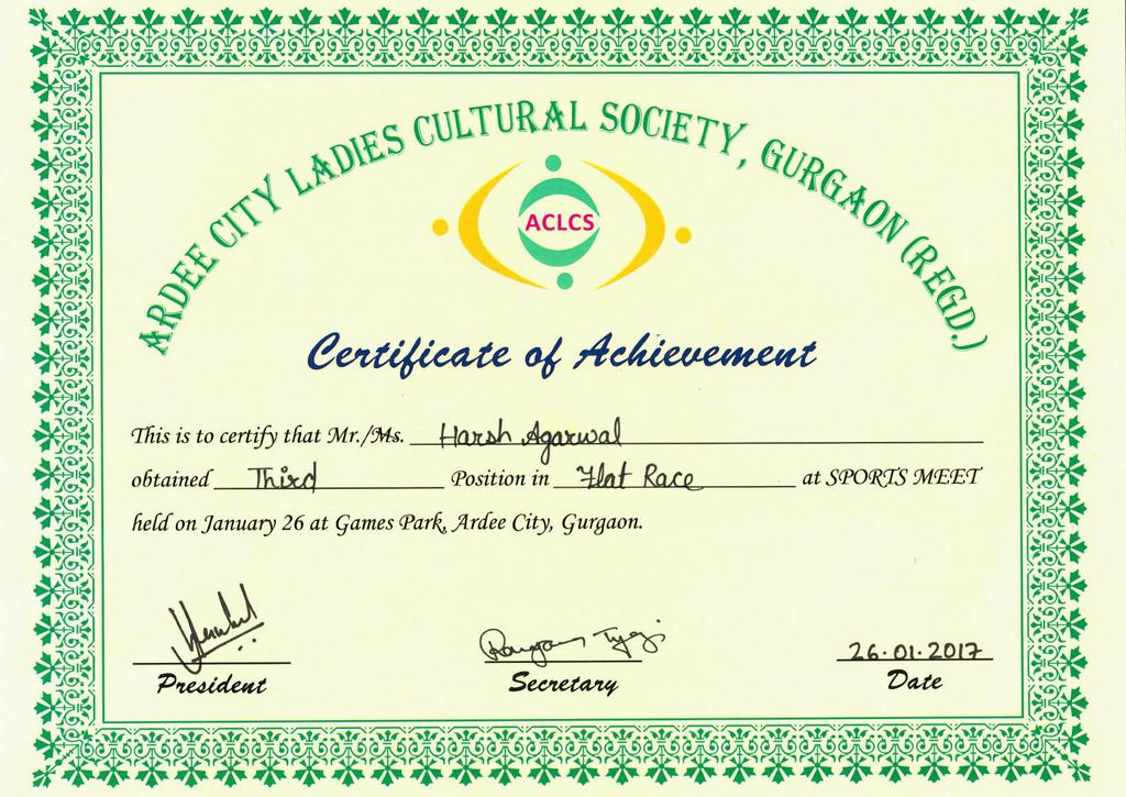 Achievement - Harsh Aggarwal