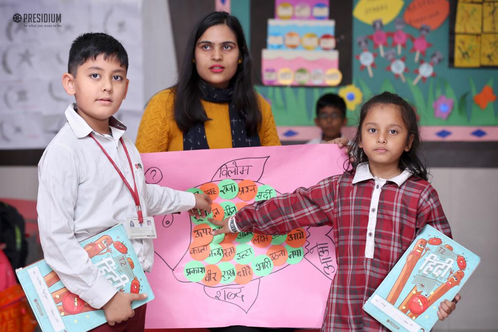 छात्रों के लिए विलोम शब्द संबंधित एक गतिविधि का संचालन किया गया।