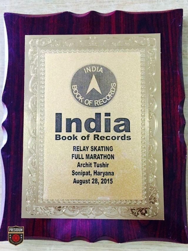 PRESIDIUM CHAMP ARCHIT TUSHIR GETS INTO INDIA BOOK OF RECORDS